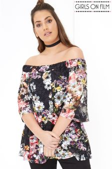 Girls On Film Curve Floral Print Bardot Top