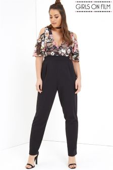 Girls On Film Curve Floral Jumpsuit