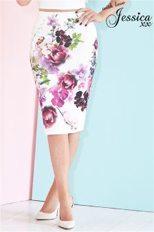 Jessica Wright Floral Pencil Midi Skirt