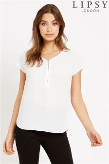 Lipsy Short Sleeve Zip Front Blouse