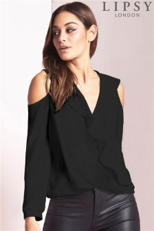 Lipsy Black Cold Shoulder Ruffle Wrap Blouse