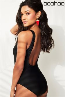 Boohoo Scallop Back Swimsuit