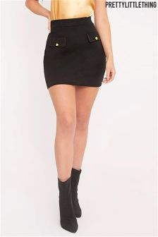 PrettyLittleThing Seraphina Black Pocket Front Mini Skirt