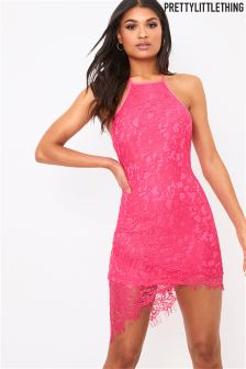 PrettyLittleThing Lace Halterneck Midi Dress