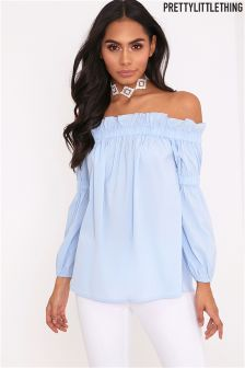 PrettyLittleThing Bardot Frill Ruched Sleeve Top