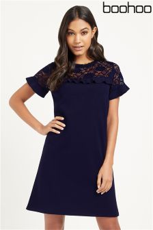 Boohoo Rezy Lace Ruffle Shift Dress