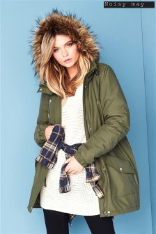 Noisy May faux Fur Hood Parka Coat