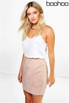 Boohoo Suedette A line Mini Skirt