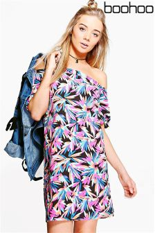 Boohoo Tropical Off The Shoulder Shift Dress