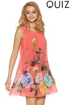 Quiz Flower Print Sleeveless Shift Dress