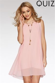 Quiz Sleeveless Tunic Dress With Necklace