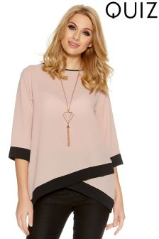 Quiz Contrast Top With Necklace