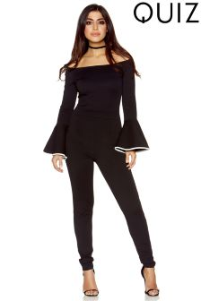 Quiz Bardot Frill Long Sleeve Jumpsuit