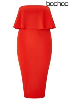 Boohoo Plus Bandeau Ruffle Midi Dress