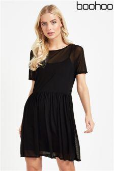 Boohoo Mesh Overlay T-shirt Dress
