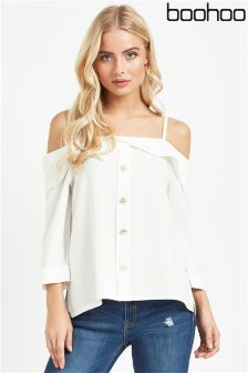Boohoo Button Front Cold Shoulder Top