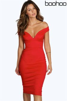 Boohoo Sweetheart Off The Shoulder Bodycon Dress