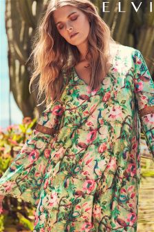 Elvi Flare Sleeve Floral Shift Dress