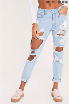 PrettyLittleThing Light Wash Super Distressed Mom Jeans
