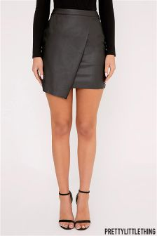 PrettyLittleThing Faux Leather Wrap Mini Skirt