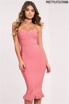 PrettyLittleThing Bandage Frill Hem Midi Dress