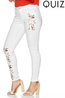 Quiz Stretch Skinny Jeans With Pastel Floral Embroidery