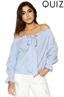 Quiz Stripe Bow Front Elasticated Hem Top