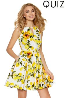 Quiz Lemon Print Skater Dress