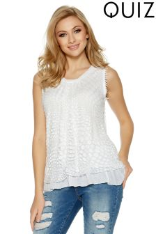 Quiz Mesh Burnout Frill Hem Top