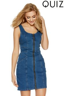 Quiz Zip Front Denim Pinafore Dress