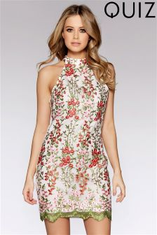 Quiz Mesh Embroidered Mini Dress