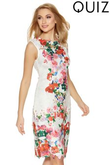 Quiz Lace Floral Over Print Midi Dress