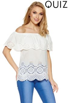 Quiz Cotton Bardot Lazer Cut Embroidery Detail Top