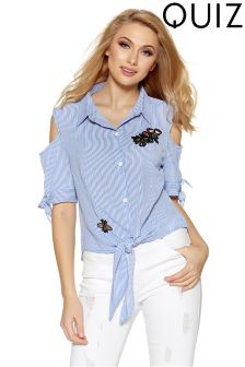 Quiz Crepe Stripe Cold Shoulder Embroidered Shirt