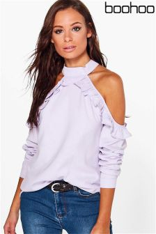 Boohoo Ruffle Cold Shoulder Blouse