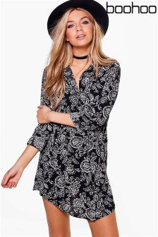 Boohoo Monochrome Floral Shirt Dress