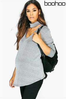 Boohoo Maternity Slinky Long Sleeve Wrap Top