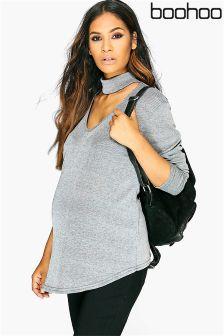 Boohoo Maternity Slinky Long Sleeve Wrap Top