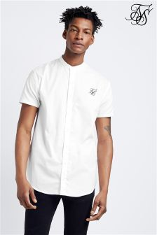 Siksilk Grandad Collar Short Sleeve Shirt