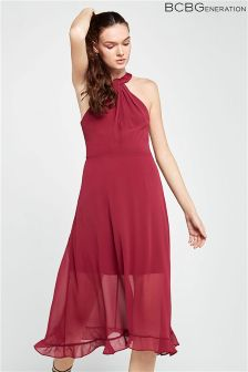 BCBGeneration Midi Halter Neck Dress