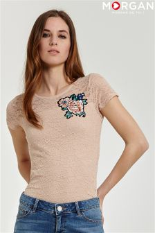Morgan Lace Applique T-shirt
