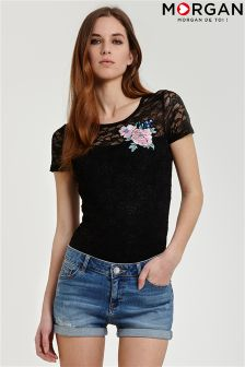 Morgan Lace Appliqué T-Shirt