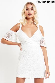 Fashion Union Lace Cold Shoulder Dress