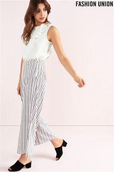 Fashion Union Stripe Wide Leg Trousers