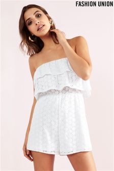 Fashion Union Broderie Anglais Playsuit