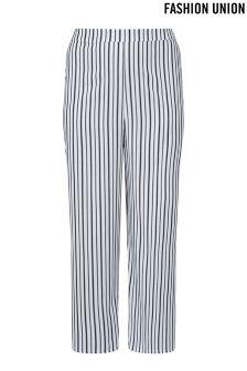 Fashion Union Curve Stripe Wide Leg Trousers