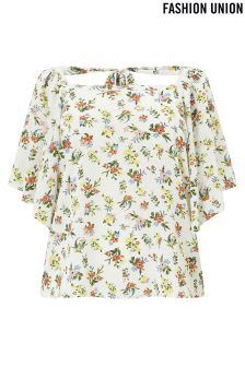 Fashion Union Curve Floral Print Frill Sleeve Blouse
