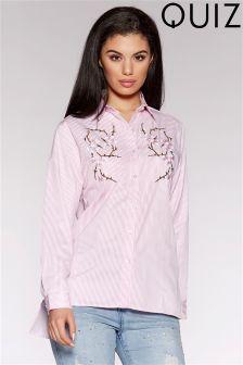 Quiz Stripe Embroidered Flower Shirt