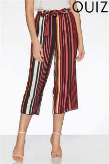 Quiz Crepe Stripe Culottes With Tie Belt