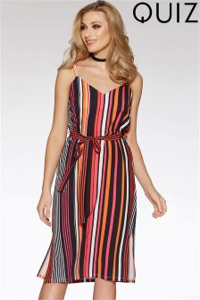 Quiz Crepe Stripe Split Side Tie Belt Dress